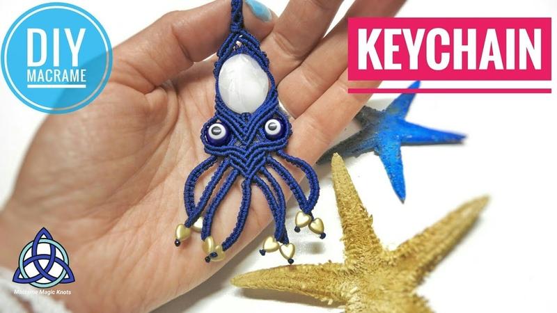Macrame Octopus Keychain Tutorial - EASY Keychian DIY