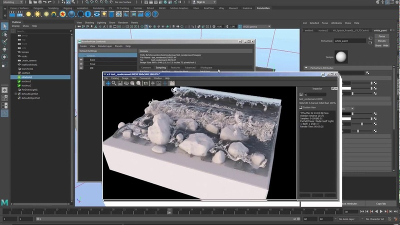 How to render meshes and particles with Renderman by using RFConnect in Maya 1