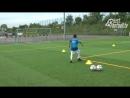 Fussballtraining Der Technik Trichter mit Torschuss Ballkontrolle Technik