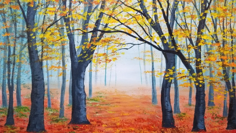 Easy Autumn Forest Landscape Acrylic Painting LIVE Instruction