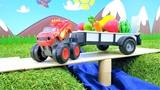 Blaze y camiones monstruos recogen la cosecha. Coches infantiles.