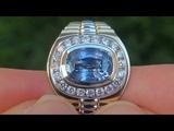 GIA Certified Mens UNHEATED VVS Natural Blue Sapphire Diamond 14k Gold Gentlemens Ring - A141567a