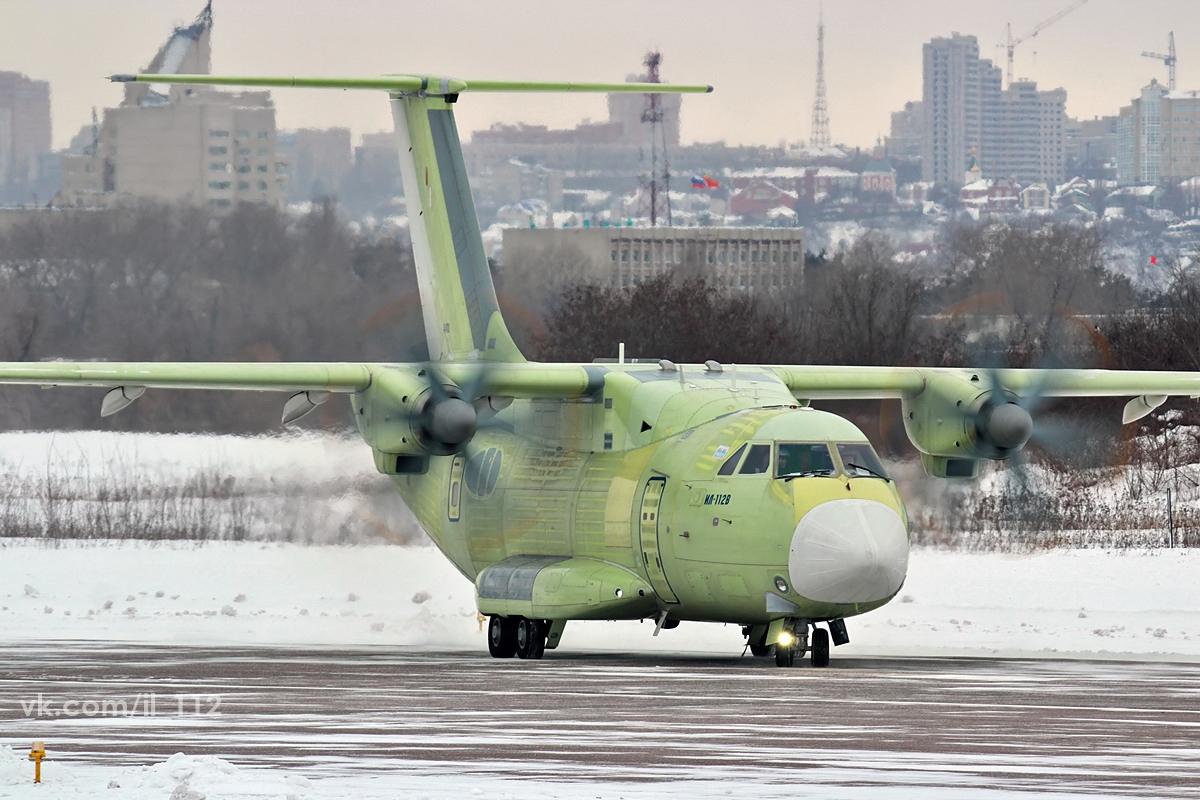 Пробежка военно-транспортного самолета Ил-112В (с/н 0101) на аэродроме ВАСО в Воронеже