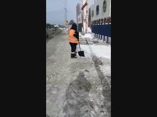 Рабочие засыпали грязный снег чистым
