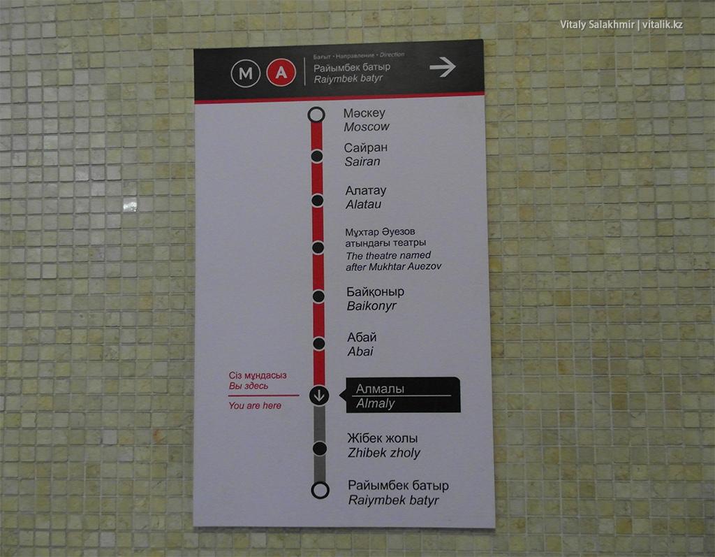 Станция Алмалы на карте метро Алматы 2018