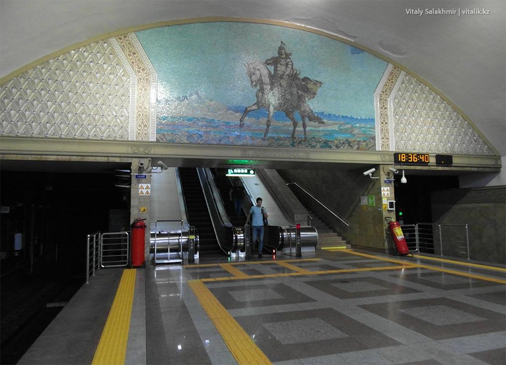 Картина на станции Райымбек батыра, метро Алматы 2018