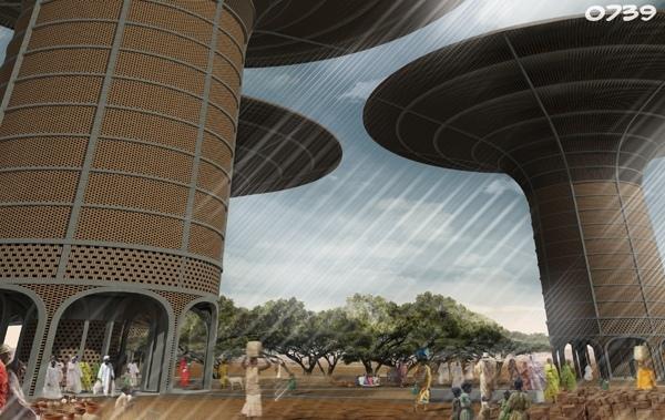 Проект небоскребов, разработанных архитектором Хугоном Ковальски (Hugon Kowalski) для строительства над подземным озером, обнаруженным в суданском регионе Дарфур в 2007 году.