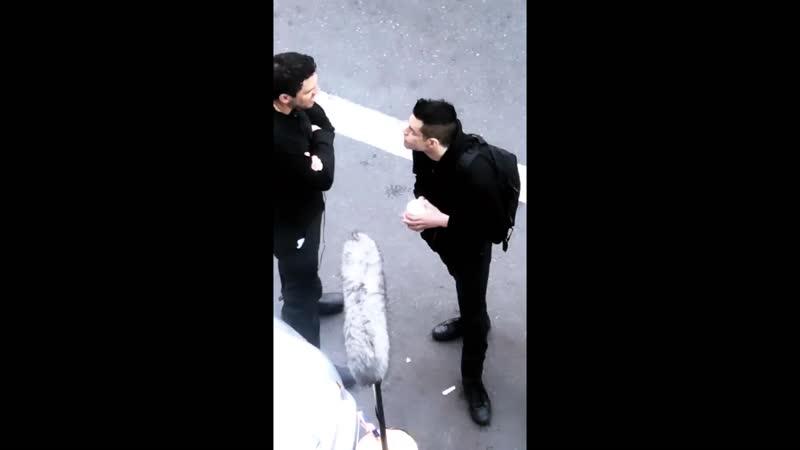 Rami Malek filming Mr Robot 06.04.2019