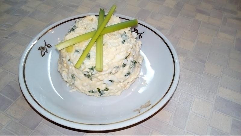 Салат Белочка, Еврейский салат из плавленых сырков, яиц и чеснока (EN)