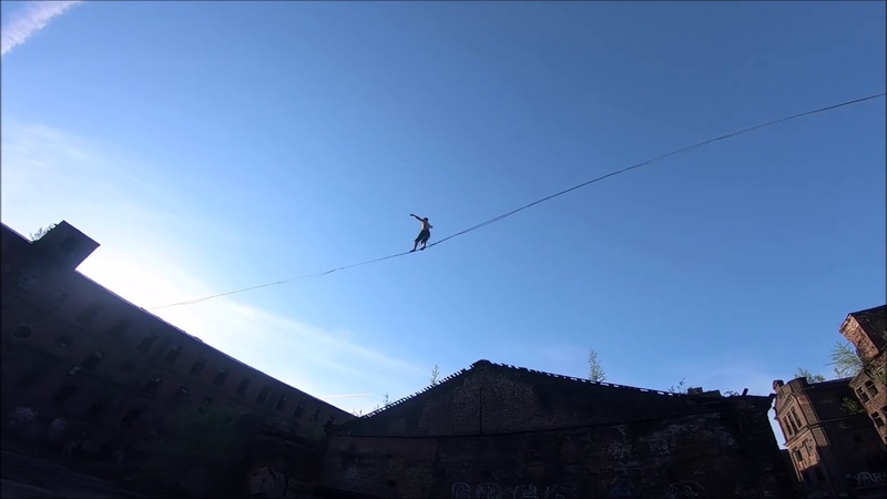 Fun times highlining in an industrial environment, right in the middle of St. Petersburg!