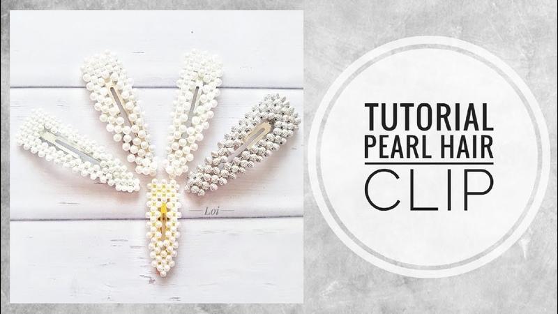 МК Заколка для волос с жемчужными бусинами треугольная Tutorial Hair clip with pearl beads