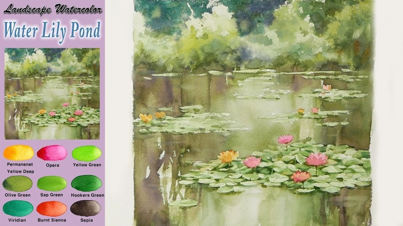 수련 연못- 풍경수채화 그리기(wet-in-wet, 아르쉬 황목) [남일 수채화] Water lily pond - Landscape watercolor, NAMIL ART