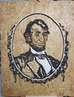 Lincoln, The Sustainable Republican 96,5x74cm, cigarette butts, tobacco, glue, varnish, pellets from cigarette butts on OSB 20