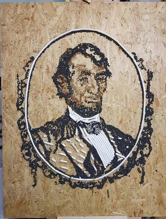 Lincoln The Sustainable Republican 96 5x74cm cigarette butts tobacco glue varnish pellets from cigarette butts on OSB 20