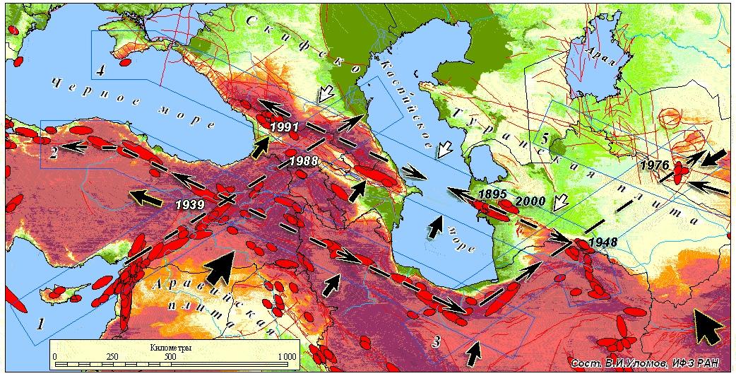 Землетрясения (расположение очагов и даты), тектонические разломы от Румынии до Средней Азии. оценка рисков строительства Керченского моста