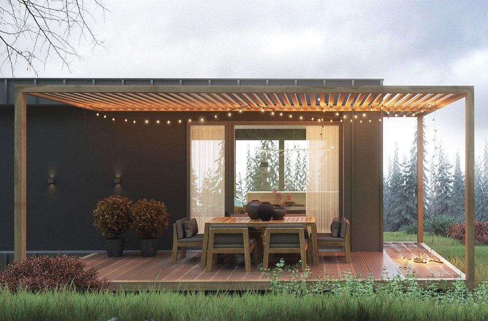 Дизайн домика с красивой террасой