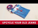 Happy Recycling Old Jeans Into Stylish Sling Bag Upcycle Old jeans Old Jeans Sewing Projects