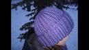 Объемная шапка спицами из толстой пряжи-ПОШАГОВО мастер класс