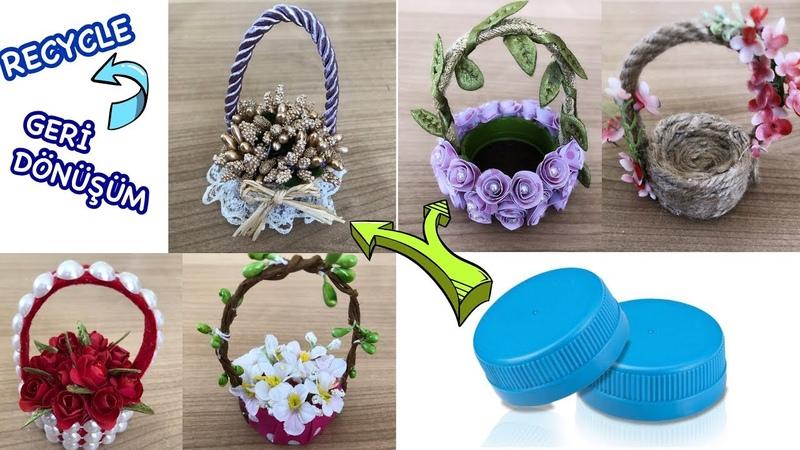 Plastik Şişe Kapağından Mini Sepet Yapımı Making Basket from Plastic bottle cap