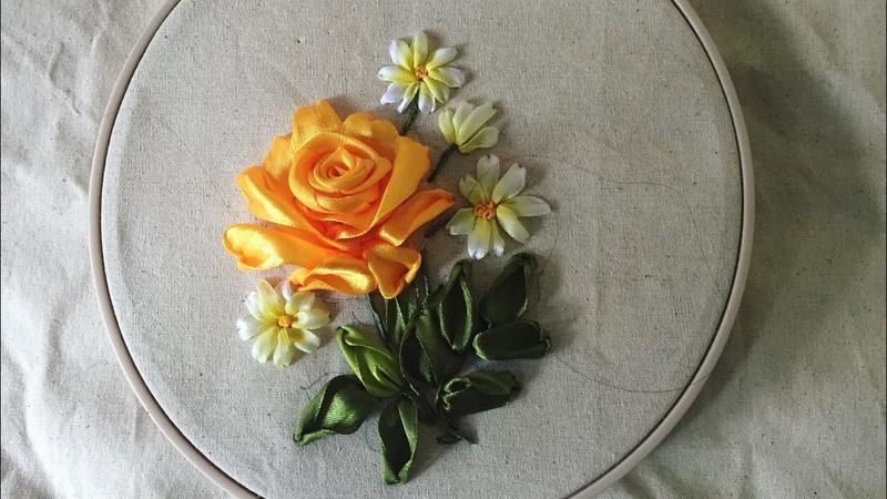D.I.Y Ribbon Embroidery Yellow Rosa with Daisy / Hướng dẫn thêu hoa hồng và hoa cúc