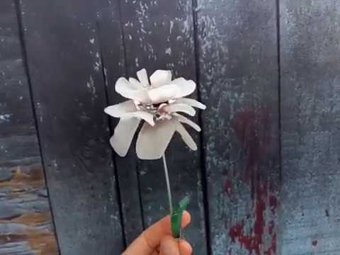 White sea stained glass flowers, set of three stems