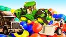 Видео про машинки для детей. Трактор - распаковка и проезд по снегу!