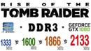 Rise of the Tomb Raider DDR3 1333, 1600, 1866, 2133 МГц