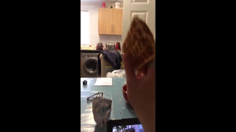 Lad throws waffle from across kitchen into toaster