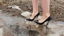 Louboutin in deep and slippy mud, louboutin stuck in mud, heels in puddles, heels abused (scene 181)