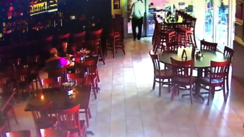 Stranger walks in and steals a meatball off of a guests plate, turns around and walks out