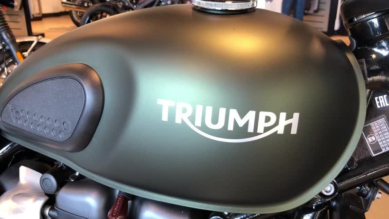 Triumph Street Scrambler Официальная гарантия на мотоцикл 2 года без ограничения по пробегу. Цена 767 000 руб. Трейд-ин, до