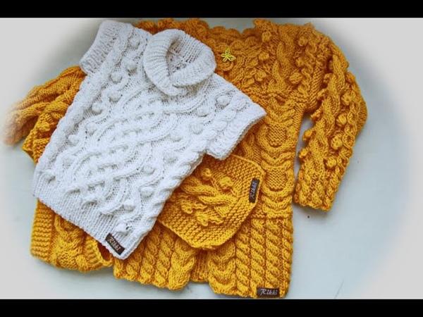 Вязание жилета с аранским узором на 3 года.Knitting of a vest with an Aranese pattern for 3 years.