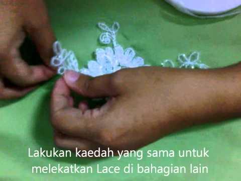 Menampal lace menggunakan pelekat double sided