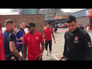 Boro players arrive at the city ground for the league clash against nottingham forest