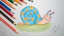 How to Draw a Cute Snail with Watercolor Pencils
