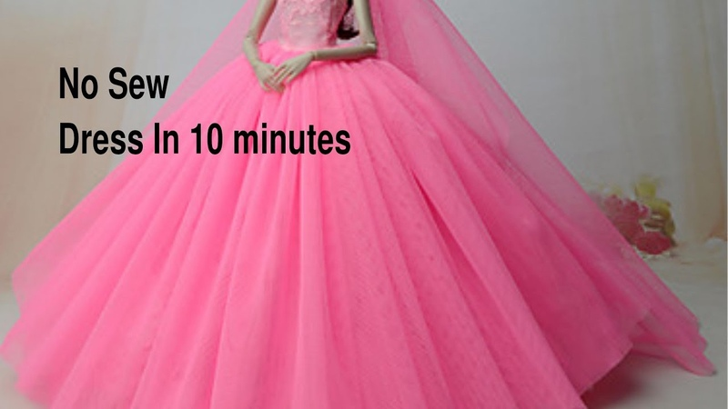 No sew removable dolls dress in 10 minutes.Dolls partywedding dress