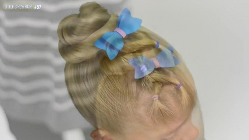 2 Quick Easy Heatless Hairstyles - PONYTAIL BUN with elastics ✿ Quick hairstyle for girl 57