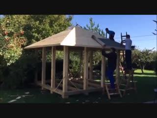 Беседка из бруса (папа с двумя сыновьями) - Заметки строителя