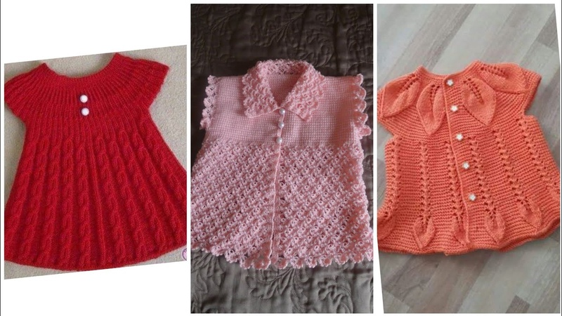 Beautiful and stylish hand knitting baby frocks and sweaters designs for girls