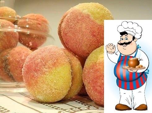 пирожное персики ингредиенты: 1 ч. л. ванилина 80 г сливочного масла 3.5 стакана муки пшеничной 1 ч. л. разрыхлителя 1 стакан сахара 2 ст. л. сметаны 2 яйца начинка: 1 банка сгущённого молока 70