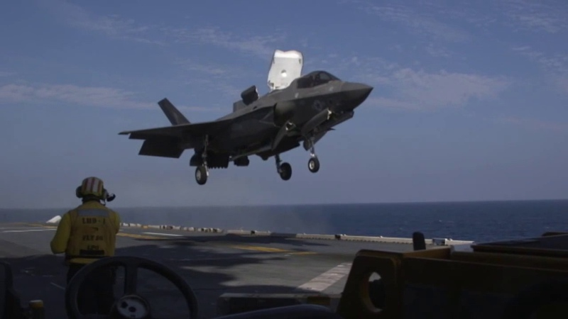 F 35B Flight Operations With GBUs USS Wasp LHD 1