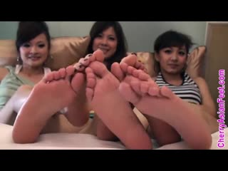 Asian girls feet  3 oriental feet in face  foot tease humiliation joi pov