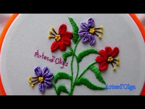 Hand EmbroideryButtonhole Bar Stitch-Detached Buttonhole   Bordados a mano Flores en Barra de Ojal
