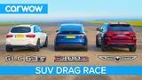 Jeep Trackhawk vs Tesla Model X vs AMG GLC 63 - DRAG RACE, ROLLING RACE &amp BRAKE TEST