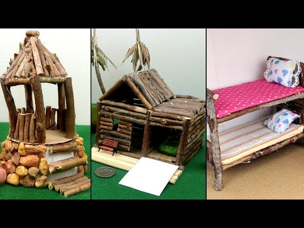 3 Easy Wooden Crafts from Tree Branch Miniature Hut Bunk Bed Best out of Waste