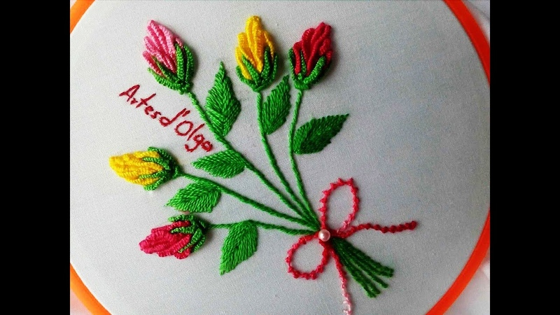 Rose Bud Bouquet Embroidery | Bouquet de Botones de Rosa | Hand Embroidery Tutorial by Artesd'Olga