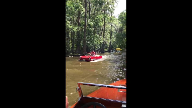 That's interesting... floating vintage cars