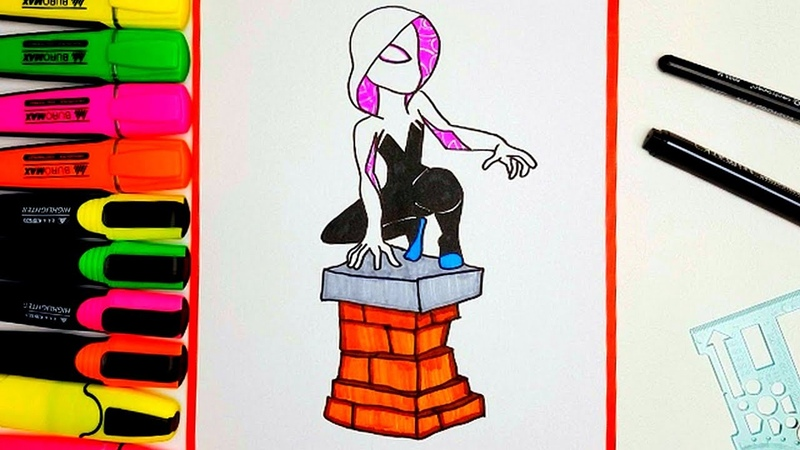 How to Draw a Spider Gwen and Spider Man ♥ Gwen Stacy and Miles Morales Coloring Pages