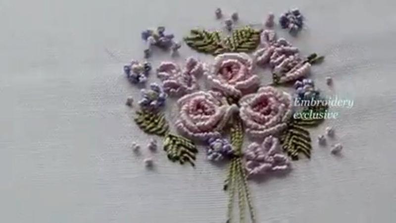 Ручная вышивкаРоза рококоHand embroideryRose rococo