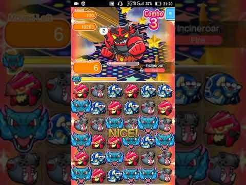 Pokemon Shuffle - Incineroar Escalation Battle 100 lvl
